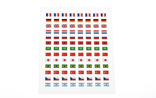Planche drapeaux autocollants pour badges