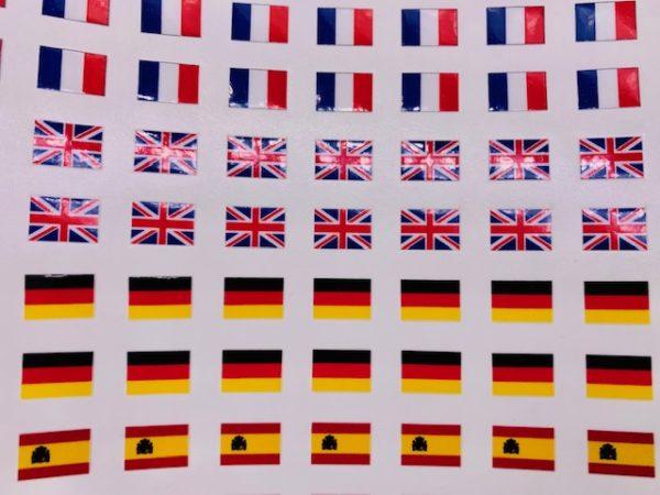 Planche de drapeaux autocollants sur mesure pour badges 7 x 10 mm