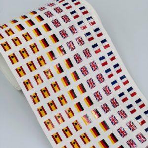Planche de drapeaux autocollants sur mesure pour badges 7 x 10 mm taille standard